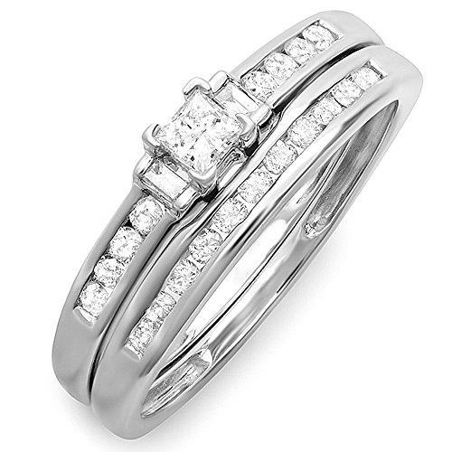 Dazzlingrock Collection 0.50 Carat (ctw) 10K Round Princess & Baguette Diamond Bridal Ring Set 1/2 CT, White Gold, Size 7