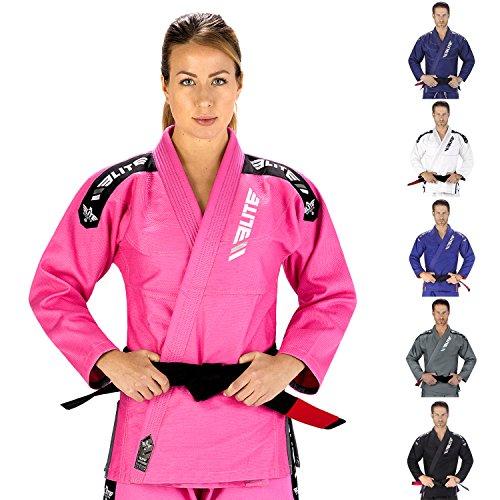 Elite Sports NEW ITEM IBJJF Ultra Light BJJ Brazilian Jiu Jitsu Gi w/Preshrunk Fabric & Free Belt (Pink, (Martial Arts Pink Belt)