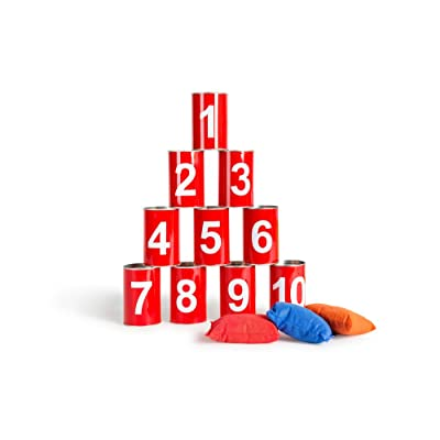 Buiten speel Juego de puntería - Volcar latas números (GA093): Buiten Speel Tin Throwing: Juguetes y juegos