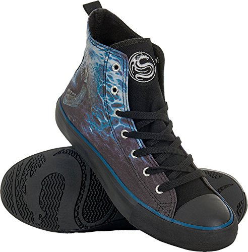 (Spiral - Mens - Flaming Spine - Sneakers - Men's High Top Laceup - M46-12 Black)