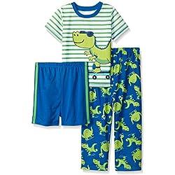 Little Me Little Boys Dino 3 Piece Poly Pajamas, Blue Print, 3T