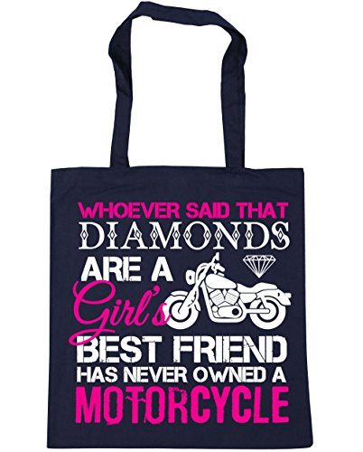 HippoWarehouse Whoever Said That Diamonds Are a Girl's Best Friend Has Never Owned a Motorcycle Motorbike Biker Tote Shopping Gym Beach Bag 42cm x38cm, 10 litres French Navy
