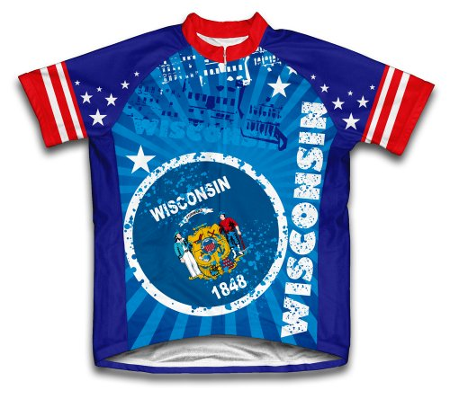 Wisconsin Cycling Jersey - ScudoPro Wisconsin Short Sleeve Cycling Jersey for Men - Size XL Blue
