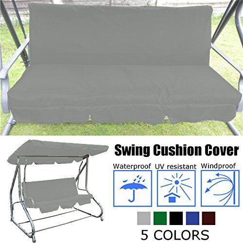 Essort Swing Cushion Cover Replacement, 150 X 50 X 50 x 10CM Suitable for B&Q Colorado Garden Swing Loveseat Protective Waterproof Cover for Swing Cushion Grey 150 X 50 X 50 x 10CM by Essort