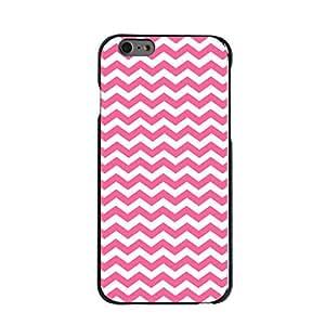 "CUSTOM Black Hard Plastic Snap-On Case for Apple iPhone 6 Plus (5.5"" Model) - Pink White Chevron Stripes Wave"