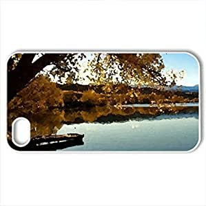 Beautiful Autumn Time - Case Cover for iPhone 4 and 4s (Lakes Series, Watercolor style, White)