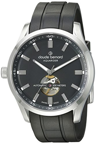 Claude Bernard Men's 85026 3CA NV Aquarider Stainless Steel Watch with Black Silicone Band