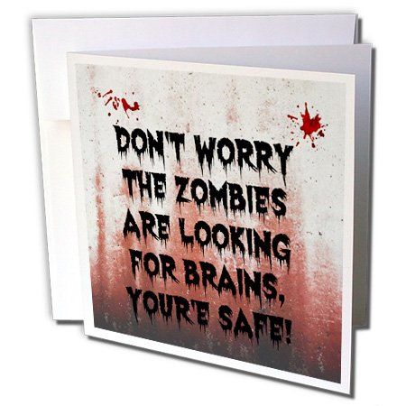 3dRose Xander funny quotes - dont worry the zombies are looking for brains youre safe - 12 Greeting Cards with envelopes (Halloween Zombie Quotes)