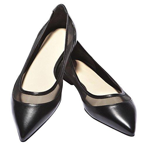de de gran tamaño puntada fondo Zapatos DYF mujer Black neto de afilado de sólido color plano hilados g5qHAxw