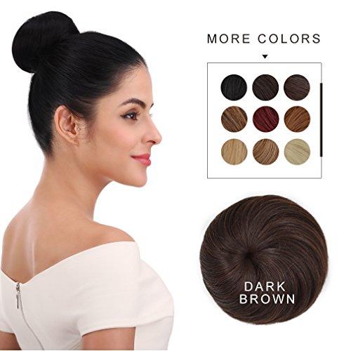 Bun Hair Extension (Synthetic Hair Bun REECHO Hair Extensions Chignon for Women 4 inches in Diameter Size Medium Color Dark Brown)