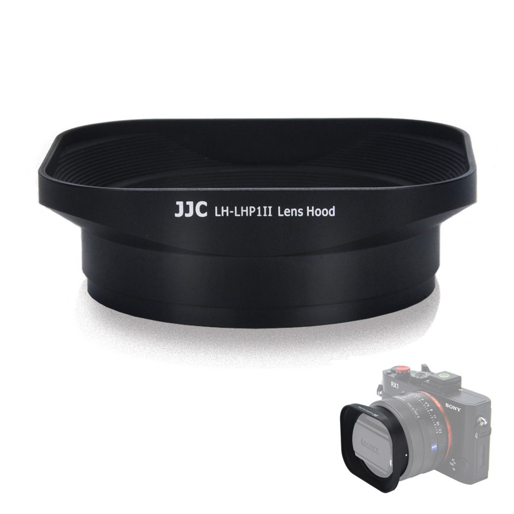 Square Lens Hood JJC Camera Lens Shade for Sony DSC-RX1 RX1R II & Sony FE 28mm f/2 35mm F2.8 ZA E 16mm f/2.8 35mm f/1.8 OSS 55-210mm f/4.5-6.3 OSS Lens Replaces Sony LHP-1 Hood by JJC