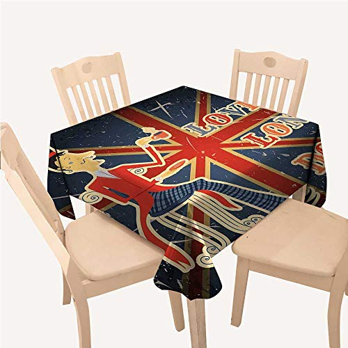 WilliamsDecor British Holiday Tablecloth Love London Quote with English Man on UK Flag Backdrop National DesignGold Dark Blue Red Square tablecloths W50 xL50 inch
