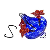 Best Home Products Humming Bird Feeder Flower Vase with Blue Bouquet Cap and  Red Flowers - 20 Ounce