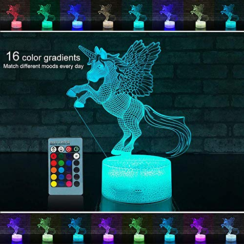 3D Night Light for Kids,16 Color Change Remote Control Timer Kids Night Lights Bedside Lamp, Kids Room Light as a Gift Ideas Boys Girls - with Adapter (Unicorn 1)
