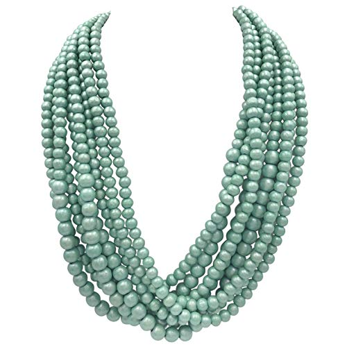 - Gypsy Jewels 8 Row Layered Wood Beads Chunky Statement Necklace (Mint Green)