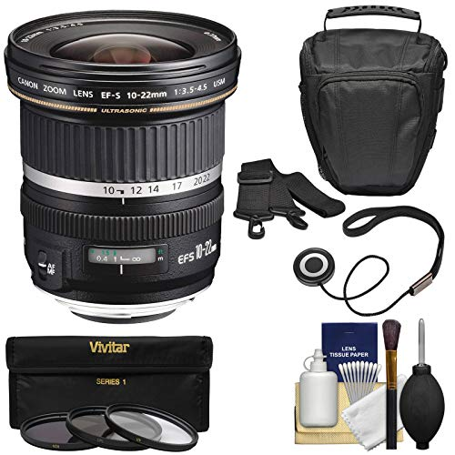 (Canon EF-S 10-22mm f/3.5-4.5 USM Ultra Wide Angle Zoom Lens with Case + 3 Filters + Kit for EOS 70D, 7D, Rebel T5, T5i, T6i, T6s, SL1 DSLR Camera)
