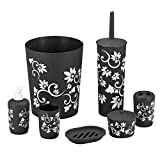 Bathroom Accessories Set Complete, Black, 7 Pieces