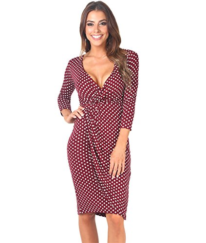 KRISP Women Polka Dot Wrap Midi Dress V-Neck 3/4 Sleeve Spots Stretch Jersey Party Casual Going Out