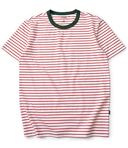 Zengjo Stripe Shirt Men Short Sleeve Crew Neck Striped Cotton T Shirt Men (XXL, White/Red(Green Rib)) -