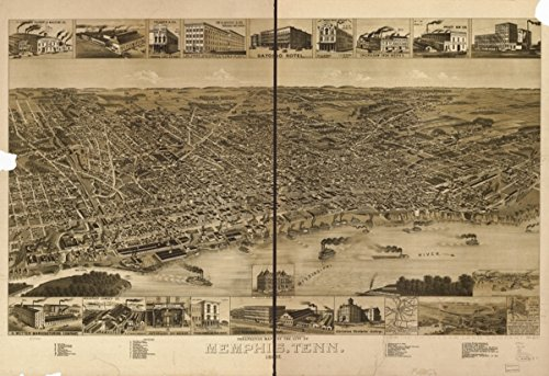 1888 map of Memphis, Tennessee Perspective of the city of Memphis, Tenn. 1887.