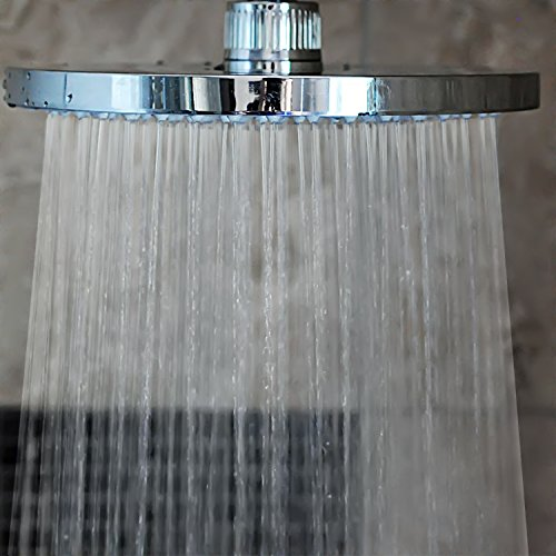 Plastic Ball Connector - Rainfall Shower Head | 8 Inches, Fixed, 157 Jets | Polished Chrome | Showerhead Swivel Ball Connector | Ceiling or Extension Arm Mountable ***BONUS*** Thread tape included!