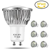 GU10 LED Bulbs, Jpodream 7W 18*5730 SMD LED Spot Lights Cool White 6000K, Super Bright (60W Halogen Bulbs Equivalent), 140° Beam Angle, AC85-265V, Pack of 6 [Upgrade Version]