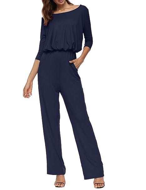 ae9d4fad33f7 Zaoqee Women s 3 4 Sleeve Casual Loose Jumpsuit Wide Legs Romper with  Pockets Blue S