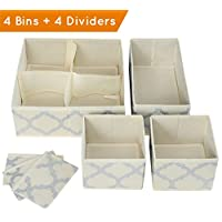 Premium Set of 4 Organizer Bins Baskets with Dividers for Closet Dresser Draw...