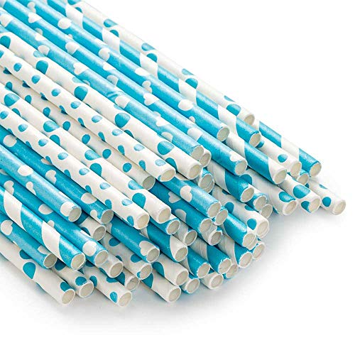 ZOOYOO Paper Straw 100pc for Birthday Parties,Weddings,Baby Showers,Holiday,engagement and Celebrations decoration(Blue) -