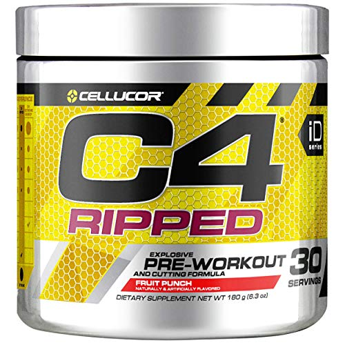 Cellucor C4 Ripped Pre Workout Powder, Fruit Punch, 30 Servings -Weight Loss Preworkout Powder for Men & Women with Green Coffee Bean Extract & L Carnitine