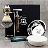 Classic Old-school Men's Shaving Set >Synthetic Brush, DE Safety (Blades NOT Included), Dual Stand, Engraved Bowl & Soap
