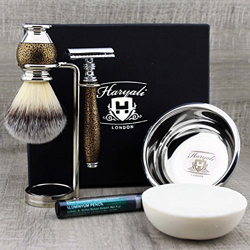 DE Safety Razor with Stand, Bowl & Soap. Haryali London