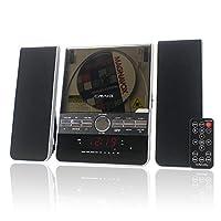 Sistema de estantería vertical para CD Craig con radio estéreo AM /FM y reloj despertador doble, 3 piezas negro (CM427)