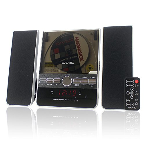 Craig Vertical CD Shelf System with AM/FM Stereo Radio and Dual Alarm Clock, 3-Piece Black (CM427) (Player Stereo Fm Am Cd)