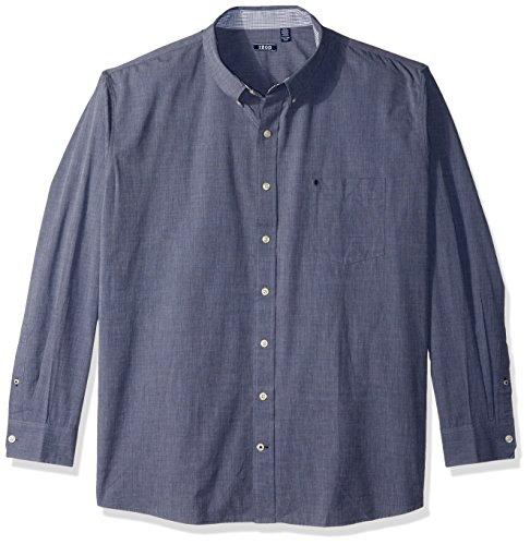IZOD Men's Size Essential Check Long Sleeve Shirt (Big Slim), Midnight, 3X-Large Tall by IZOD