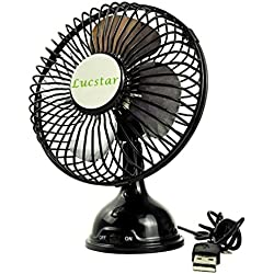 Lucstar Retro Desk Fan USB Powered Quiet Powerful Table Personal Fan for Office Home Desktop Laptop, Small 4 Inch Portable Elegant Pedestal Vintage Cooler Black