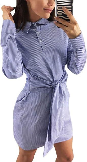 Minetom Vestido Mujer Vestir Corto De Cóctel Casual Raya Mini Dress De Camisa Elegante Atractivo Slim Otoño Manga Larga: Amazon.es: Ropa y accesorios
