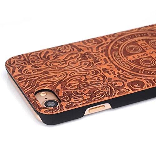 Vandot Funda de Madera natural con Diseño estampado elefante para el iPhone 6 / 6s , Azteca Tribal Madera Cubierta Caja de PC Premium Trasera Dura Contraportada Lujo Caso hecho a mano Carcasa Protecto Wood 09
