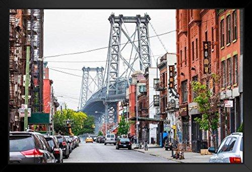 Street View Brooklyn NY and Williamsburg Bridge Photo Art Print Framed Poster 20x14 inch (Ny Brooklyn Bridge)