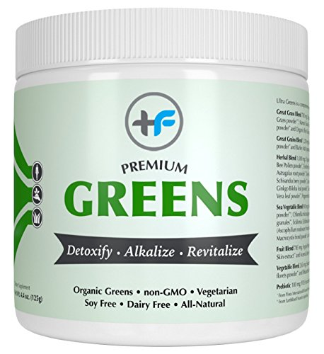 Premium Greens Vegetable Smoothie Powder with Prebiotics by Healthy Fit Labs (125g) | Organic Superfood Supplement | Powerful Herbal, Sea Vegetables, Whole Grains | Detoxify, Energize, Alkalize For Sale