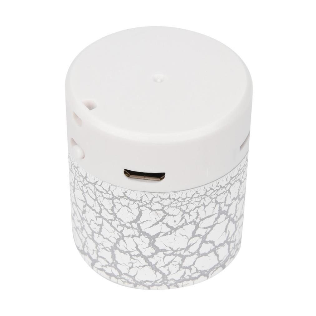 LED Mini Bluetooth Speakers,Tuscom Portable Wireless HandfreeMusic Player with TF Card (White)