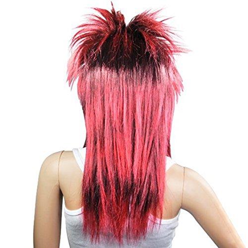 TOOGOO Red Black Ladies Glam Punk Rocker Chick Tina Turner Carnival Wig Fancy Dress -