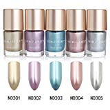 NICOLE DIARY 9ml Metallic Nail Polish Mirror Effect Shiny Metal Polish Varnish (5 colors/set)
