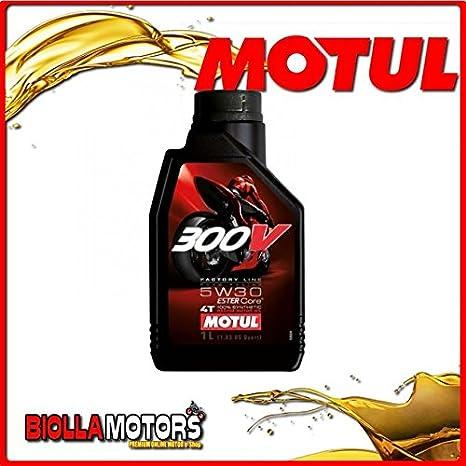 motul5 - Bote 1 Litro Aceite Motul 300 V Factory Line Road Racing 5 W30 100% sintético para motores 4T: Amazon.es: Coche y moto