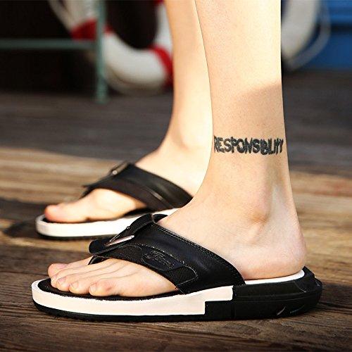 estate Uomini scarpa Uomini Tempo libero sandali vera pelle Confortevole Spiaggia scarpa moda infradito sandali ,nero,US=7.5,UK=7,EU=40 2/3,CN=41