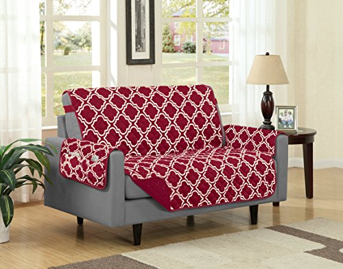 Austin Reversible Solid/Print Microfiber Furniture Protector With Strap & Side Pockets (Loveseat, Burgundy) (Pattern Couch Cover)