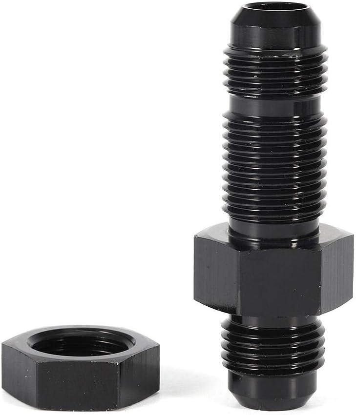 KIMISS aleaci/ón de aluminio AN6-AN6 macho a macho recto mamparo con tuerca negra