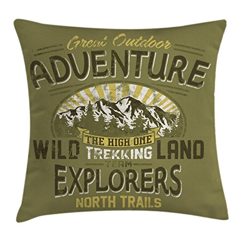 Vintage Decor Throw Pillow Cushion Cover by Ambesonne, Great Outdoor Adventure A Poster About Climbing Vintage Pattern, Decorative Square Accent Pillow Case, 24 X 24 Inches, Olive Green and Yellow