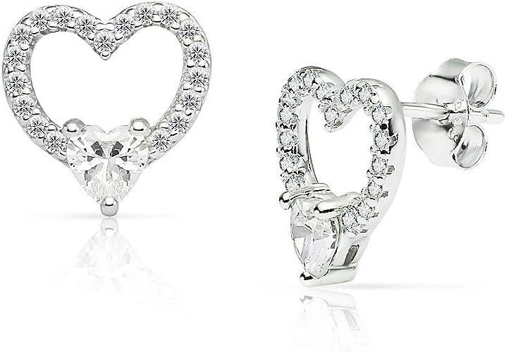 Girls Womens Sterling Silver Clear Small 6mm Valentine Heart Love Stud Earrings