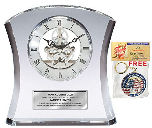Tower Da Vinci Crystal Clock with Silver Dial and Silver Engraving Plate Personalized Desk Clock Wedding Gift Retirement Employee Service Awards Executive -